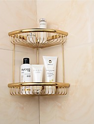 Golden Finish Triangle Double Shelves Brass Material Wall-mounted Bathroom Soap Basket