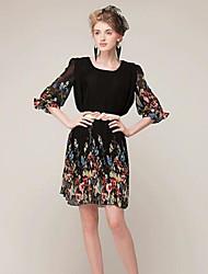 TS Round Neck Dress , Chiffon Knee-length ½ Length Sleeve