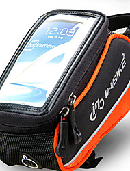 INBIKE 5.5 Inch Polyester and EVA Black and Orange Bicycle Front Bag with Transparent PVC Touchable Mobile Phone Screen