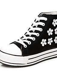 Donna tela Platform Heel Creepers Fashion Sneakers con fiori Shoes (più colori)