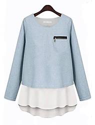 Women's Spring / Fall / Winter Shirt Long Sleeve Blue Cotton Opaque