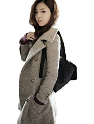 Hanyiou Fitted Fashion Solid Color Coat