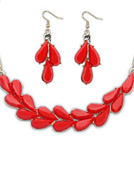 Women's Fashion Exquisite Leaves Statement Necklace Hooked Earrings Suit (More Colors)  (1 set)