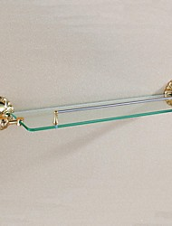 Bathroom Shelf Ti-PVD Wall Mounted 678*135*98mm(26.7*5.3*3.8inch) Brass / Glass Antique