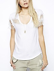 Frauen Round Kragen und Quasten Design T-Shirt