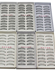 60PCS 6 Mixed Styles Natural Handmade Black Lengthening  Fiber False Eyelashes