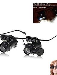 ZW-9882-2A Óculos Tipo Lupa 20X com luz LED branca (4 x CR1620)