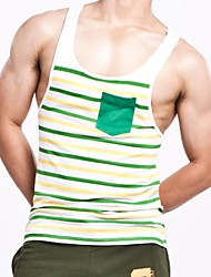 Men's Fashion   Stripes Slim Sleeveless Tanks