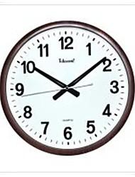"Telesonic™ 14""H Brief Style Circular Shape Imitation Wood Grain Coating Super Mute Wall Clock"