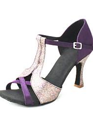 zapatos de baile latino / salsa personalizar sandalias superiores de satén de las mujeres del salón de baile con buckie