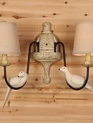 Aplique de diseño pájaro, 2 luz, pintura metálica con malla de sombra, 220-240v.