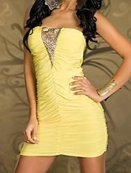 Women's Strapless Mini Dress , Cotton Yellow Sexy/Bodycon/Party