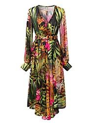 Women's Print Multi-color Dress , Beach/Plus Sizes/Maxi Deep V Long Sleeve