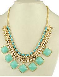 MIKI Square Gemstone Knitting Tassel Necklace