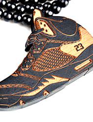 Fashion Beautiful New No.23 Shoes Pendant Brown Wood Pendant Necklace(1 Pc)