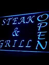 Steak Grill Azul Verde Aberto Vermelho Branco Laranja Roxo Amarelo Publicidade LED Sign