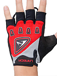 LAMBDA Red Cycling Breathable Mesh Silica Gel Bike Half Finger Gloves