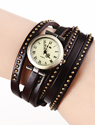 Mulan Cow Leather Vintage Watch-98 (Brown)