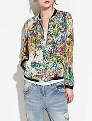 Women's Vintage/Sexy/Casual/Print/Work Long Sleeve Jackets , Chiffon Thin