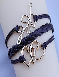 Unisex's Fashion  Double Heart Wax Rope PU Handmade Woven Bracelet