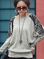 léopard bande col rond manches longues t-shirt des femmes sw