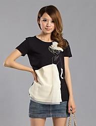 Women's White/Black T-shirt/Shirt Short Sleeve