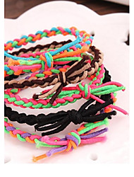 Spell Color Hand Woven Elastic Collision Matching Bracelet Rope Hair Bands (Color Random)