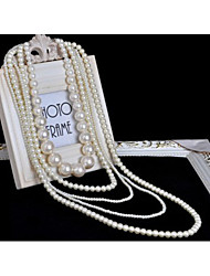MIKI Stack Pearl Long Necklace