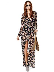 Frauen Gebrochene Blumen-Muster Schwarz Soft-Chiffon-Kleid