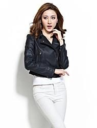 Women's Slim Long Sleeve Short Motorcycle PU Coat