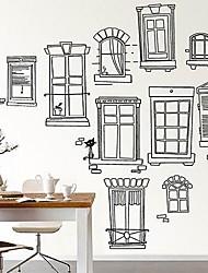 Createforlife® Black Pencil Drawings Windows Kids Nursery Room Wall Sticker Wall Art Decals