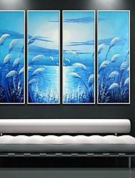 Landscape Reed At The Bank Of  River Framed Canvas Print Set of  4