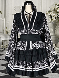 Exotic Girl Long Sleeve Short-length Black Flower Pattern Wa Lolita Dress