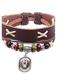 Unisex's Occident Style Hat's Jewelry  Beads Leather Braided Bracelets