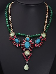 Women's Color Crystal Gemstone Bead Necklace