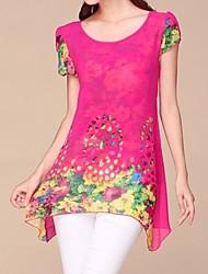Mulheres Blusa Casual Simples Todas as Estações,Floral Azul / Vermelho / Branco / Preto / Amarelo Manga Curta Fina