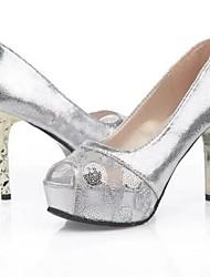 Zapatos de mujer - Tacón Stiletto - Tacones - Tacones - Vestido - Encaje / Cuero Patentado - Plata / Oro