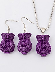 Gothic  Resin Owl TItanium Steel Necklaces and Earrings Jewelry Sets