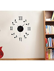Dancing Music DIY Musical Note Combination Wall Clock Black/Red