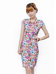v cou robe imprimé floral moulante des femmes Mengqi