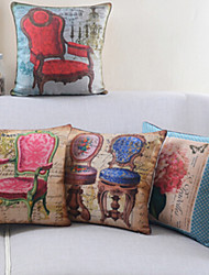 Set of 4 Retro Chairs Cotton/Linen Decorative Pillow Cover