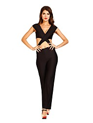 2014 New Fashion Spring Long Sleeve Black Sexy Bodycon Club Jumpsuits KM008