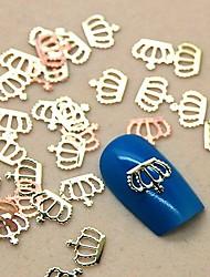 200 Stück Kronenform goldenen Metall-Scheibe Nagelkunstdekoration