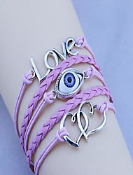 Unisex's  Double Heart Angel's Eye Wax Rope  PU Handmade Woven Bracelet