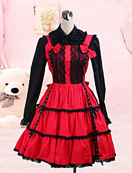 Long Sleeve Black Blouse Knee-length Red Cotton Jumper Skirt Classic Lolita Outfit