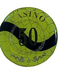 $ 50 blocage d'or arrondi puce de mahjong avec le signe anti-faux