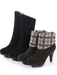 Damesschoenen - Buiten - Zwart / Bruin - Kegelhak - Modieuze laarzen - Laarzen - Suède