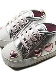 Talón plano muchacha del algodón Primera Walker Fashion Sneaker con zapatos de cordones