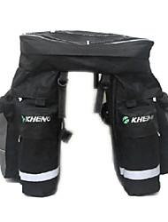 Kheng bolso impermeable de la bicicleta de maletas negro 3-en-1 con la cubierta de la lluvia