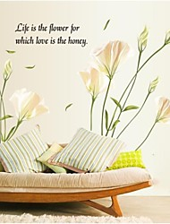 Doudouwo® Florals Elegant Wind WaveFlower Petal Lily Wall Sticker